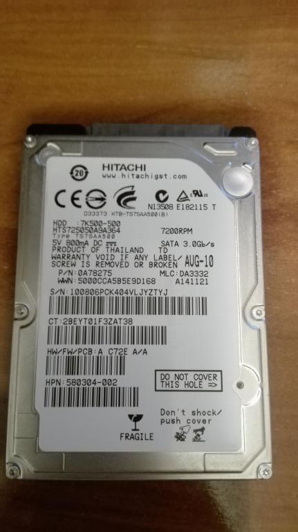 Slika: HDD Hitachi 500GB 7200 RPM nizak hea